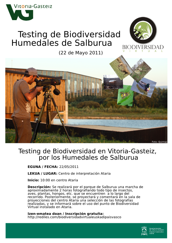 cartel testing Humedales Salburua 22 de mayo de 2011 Vitoria-Gasteiz Ataria Biodiversidad Virtual Euskadi Pais Vasco